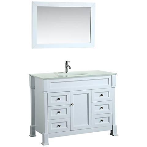 """Bosconi 43"""" White 6-Drawer Extra-White Glass Vanity Set"""