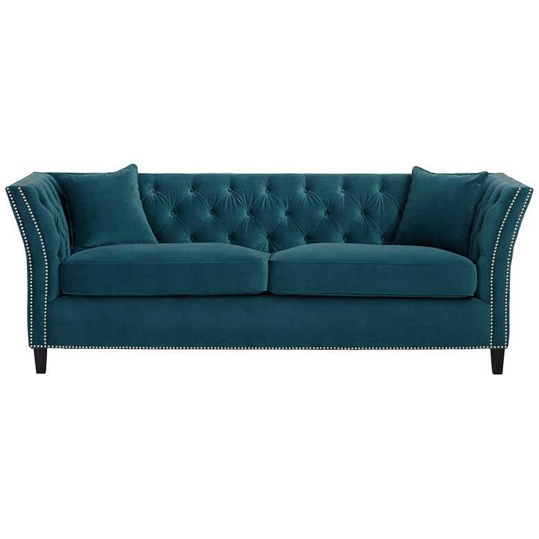 "Brianna 88 1/2"" Wide Teal Blue Tufted Velvet Sofa"