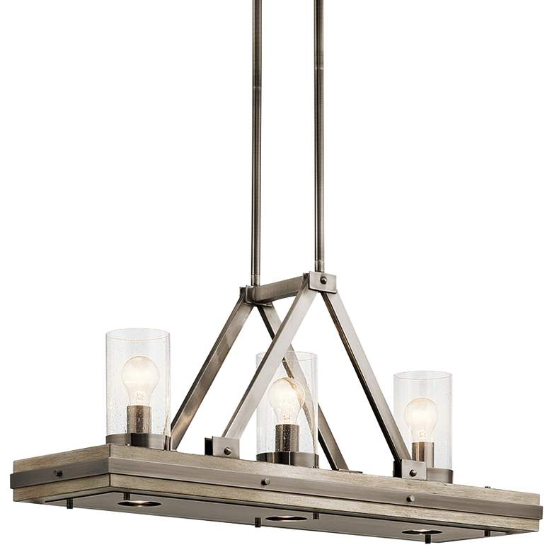 """Colerne 35 3/4""""W Classic Pewter 6-Light Linear Pendant"""
