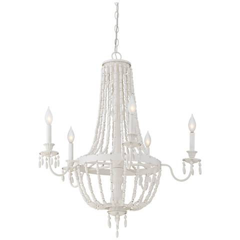 "Savoy House Geneva 30""W Porcellan White 5-Light Chandelier"