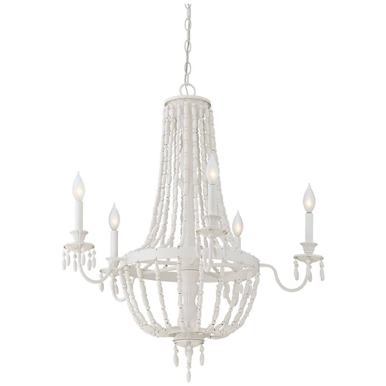 "Savoy House Geneva 30""W Porcellan White 5-Light Chandelier"