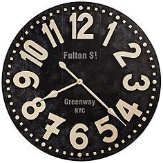 "Howard Miller Fulton Street 36""W Vintage Black Wall Clock"