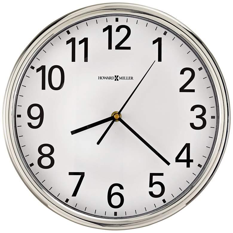 "Howard Miller Hamilton 12"" Round Polished Silver Wall Clock"