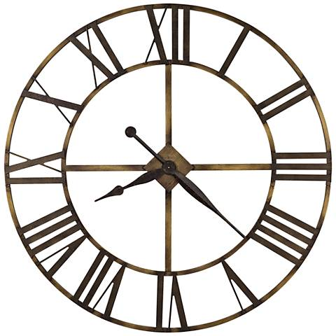 "Howard Miller Wingate 49""W Dual-Antique Brass Clock"
