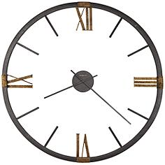 "Howard Miller Prospect Park 60""W Texture Charcoal Wall Clock"