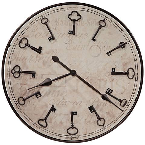 """Howard Miller Cle Du Ville Bronze Keys 26 1/4""""W Wall Clock"""