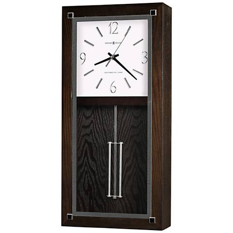 "Howard Miller Reese 21""H Black Coffee Pendulum Wall Clock"