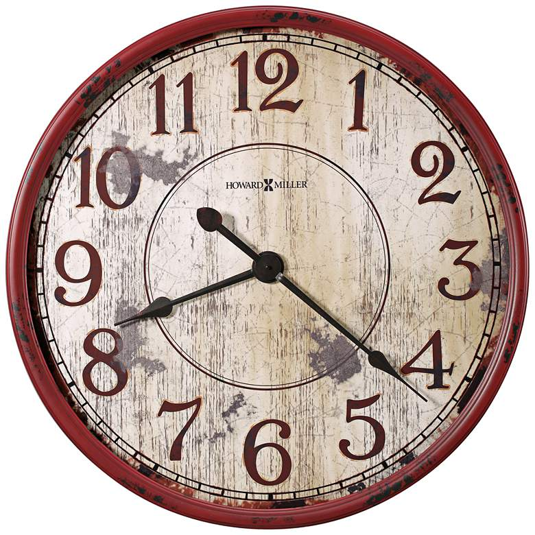 """Howard Miller Back 32""""W Antique Red Wall Clock"""
