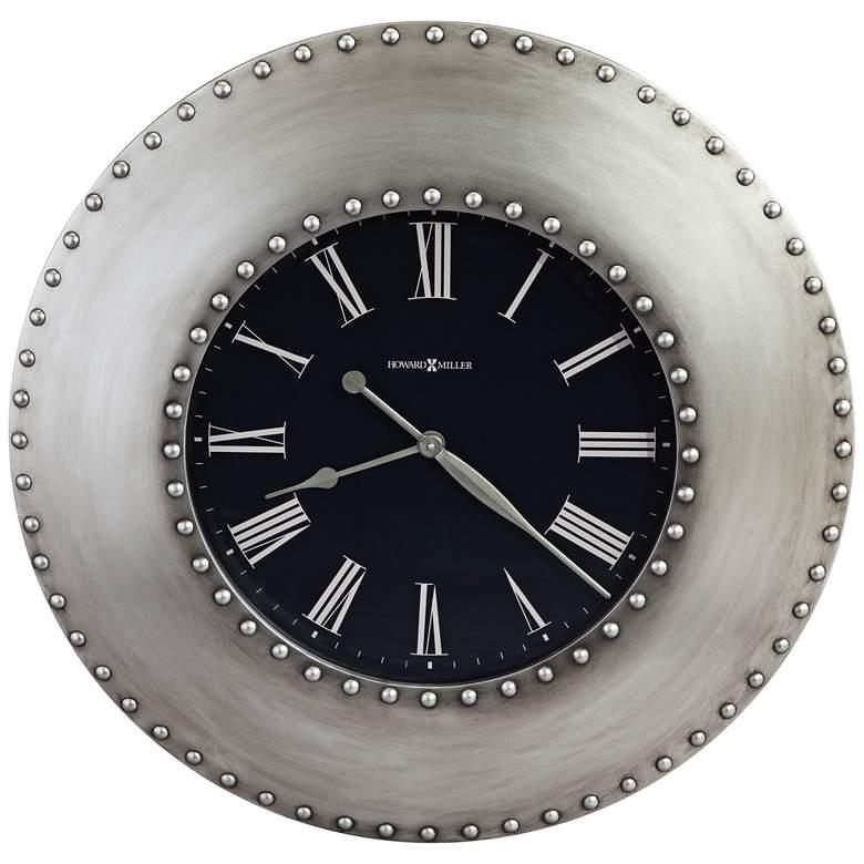 "Howard Miller Bokaro 33"" Round Antique Nickel Wall Clock"