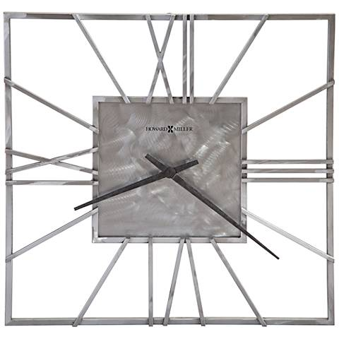 "Howard Miller Lorain 24"" Round Brushed Steel Wall Clock"