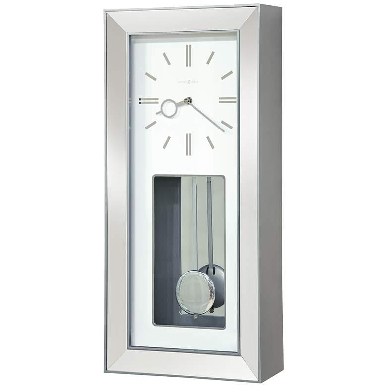 "Howard Miller Chaz 23"" High Satin Silver Wall Clock"