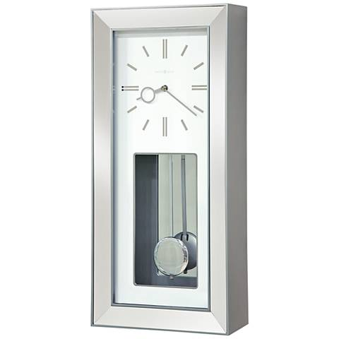 "Howard Miller Chaz 23"" High Satin Silver Wall Clock"