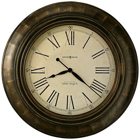 "Howard Miller Brohman 34"" Round Warm Brown Wall Clock"