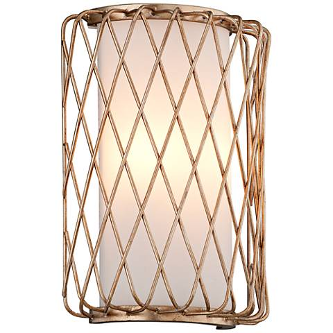 "Hideaway 12"" High Champagne Leaf LED Wall Sconce"