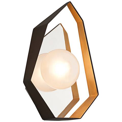"""Origami 14 1/2"""" High Bronze with Gold LED Wall Sconce"""