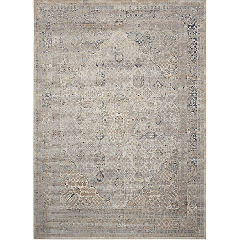 Nourison Malta MAI01 Ivory and Blue Area Rug