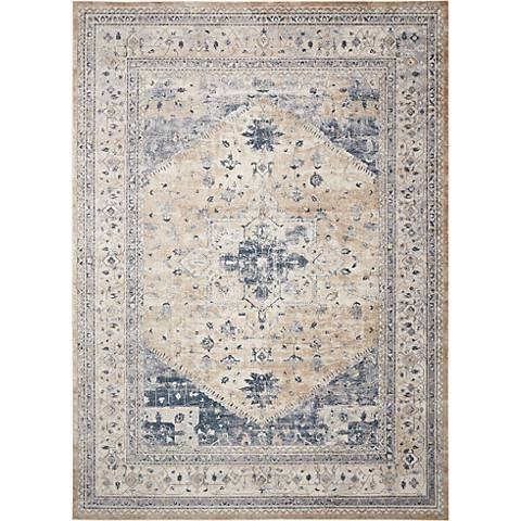 Nourison Malta MAI02 Beige and Blue Area Rug