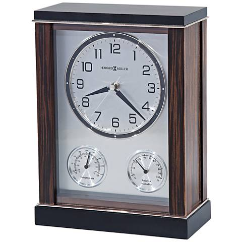 "Howard Miller Aston 11""H Indoor Thermometer Ebony Clock"