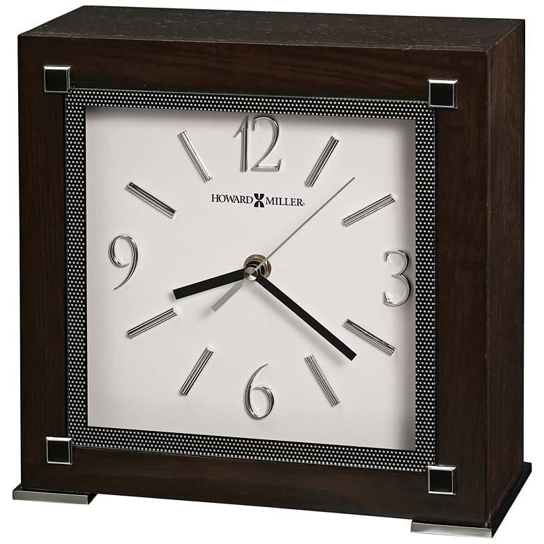 """Howard Miller Reese 9 1/2""""H Black Coffee Wood Square Clock"""
