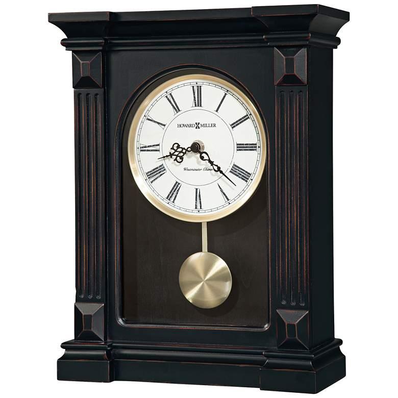 "Howard Miller Mia 13 1/2"" High Fluted Worn Black Clock"