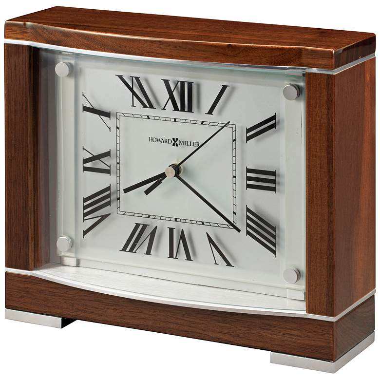 "Howard Miller Megan 9"" Wide Retro Piano Walnut Mantel Clock"