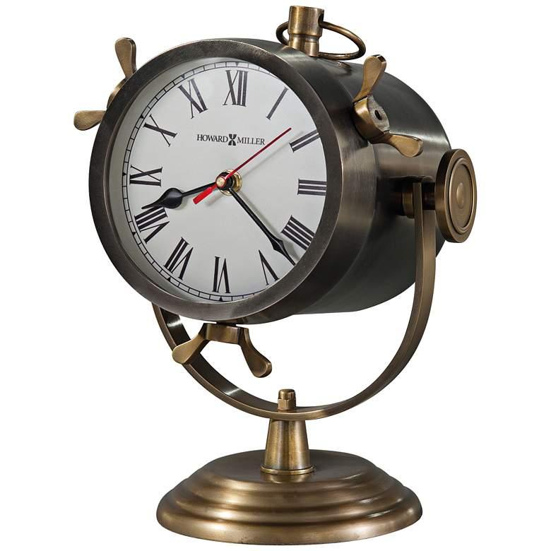 """Howard Miller Vernazza 11 1/4"""" High Antique Brass Clock"""