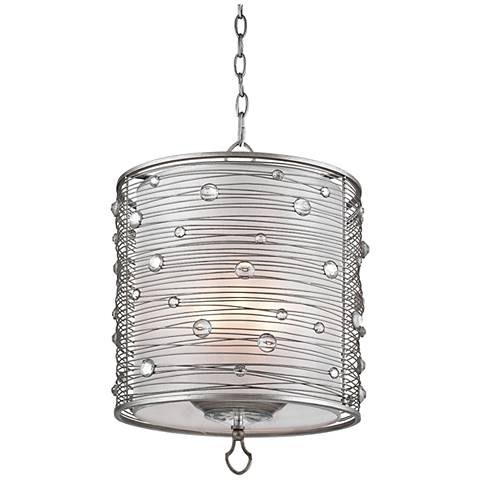 "Joia 14 1/4"" Wide Peruvian Silver Drum Pendant Light"