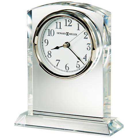 """Howard Miller Flaire 6 1/4""""H Optical Glass Table Clock"""