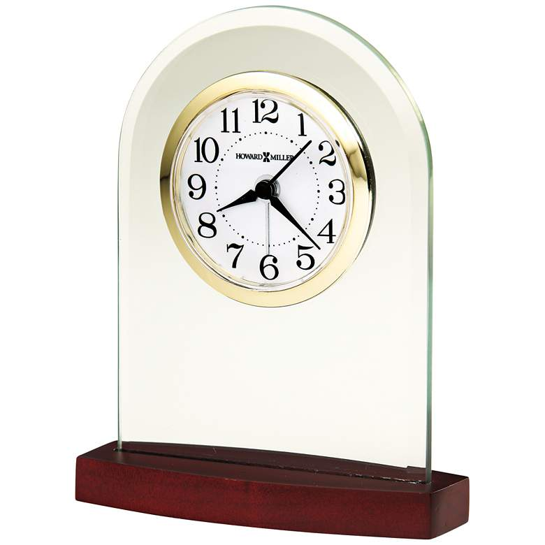"Howard Miller Hansen 5""H Convex Clear Crystal Alarm Clock"