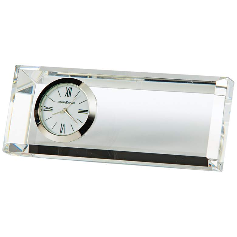 """Prism 5"""" Wide Small Crystal Glass Table Clock"""