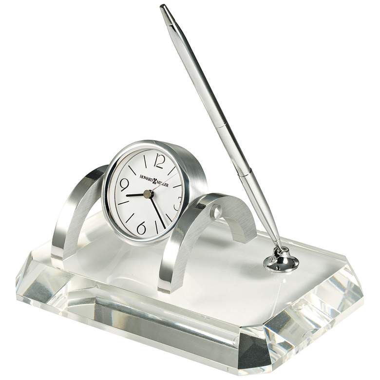 "Prominence 7"" Wide Glass Desk Set with Pen and Clock"