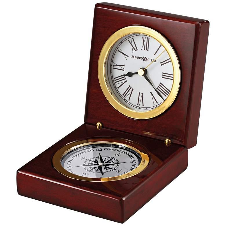 """Howard Miller Pursuit 4 1/2""""H Rosewood Hall Compass Clock"""
