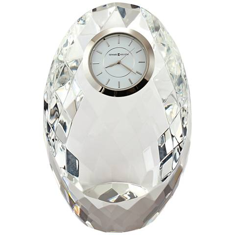"Howard Miller Rhapsody 5"" High Faceted Crystal Egg Clock"