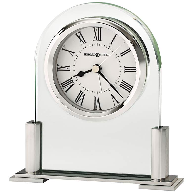 """Howard Miller Brinell III 5""""H Glass And Silver Alarm Clock"""