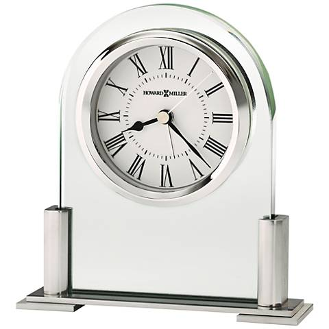 "Howard Miller Brinell III 5""H Glass And Silver Alarm Clock"