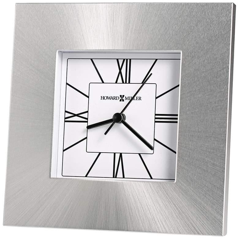 """Howard Miller Kendal 6 1/4"""" High Brushed Silver Modern Clock"""