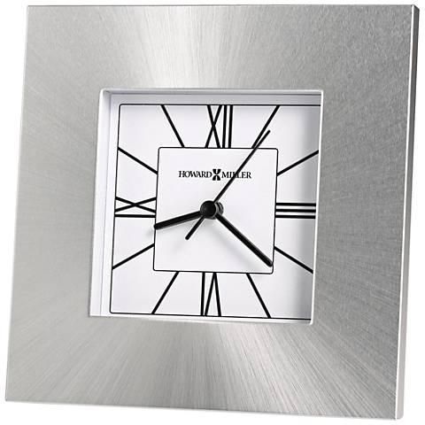 """Howard Miller Kendal 6 1/4""""H Brushed Sunburst Silver Clock"""