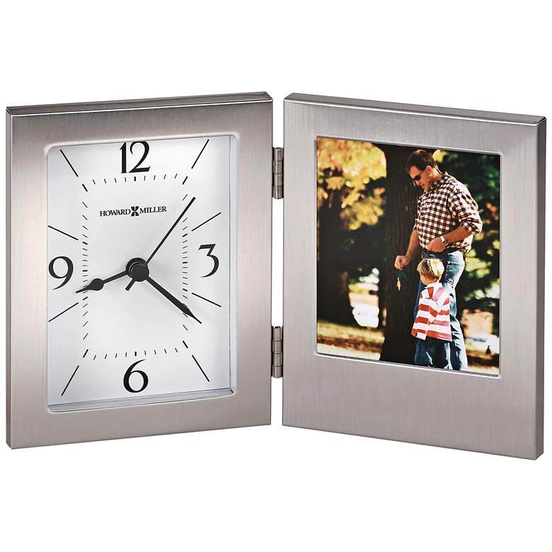 "Howard Miller Envision 8"" Wide Hinged Aluminum Photo Clock"