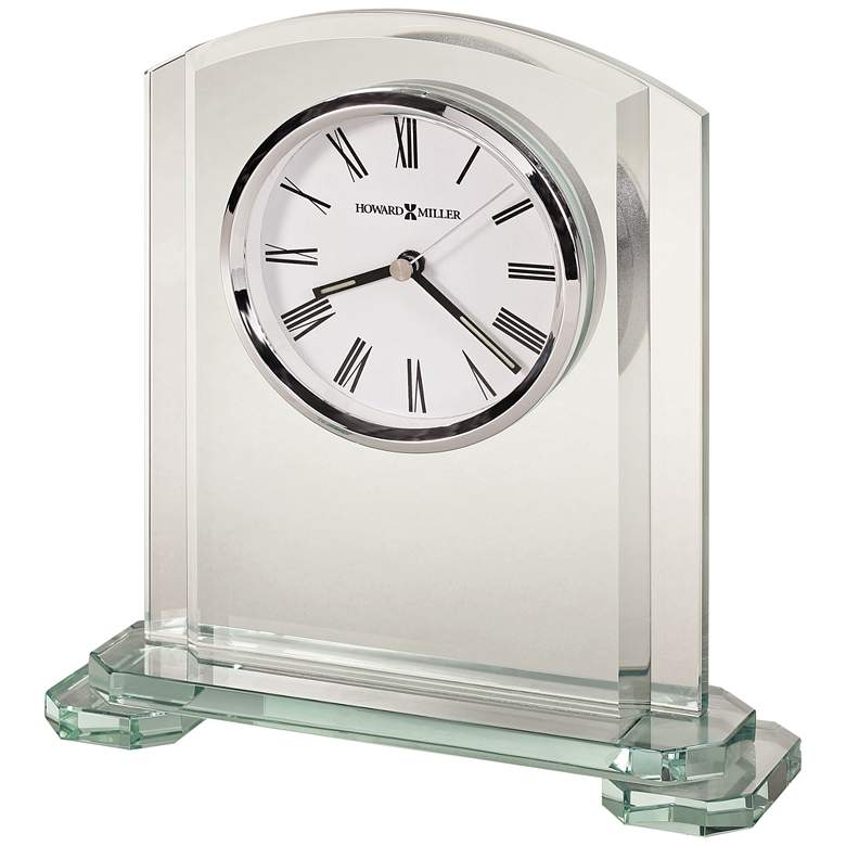 "Howard Miller Stratus 8 1/4"" High Clear Glass Table Clock"