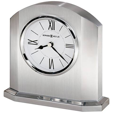 "Howard Miller Lincoln 5 3/4""H Dual-Silver Alarm Table Clock"