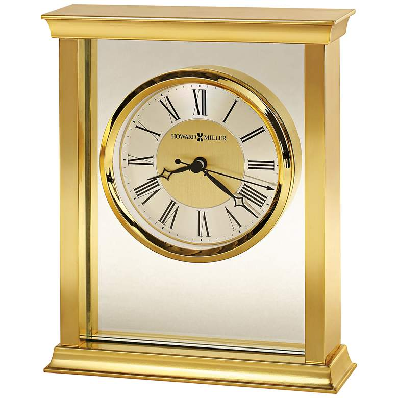 """Howard Miller Monticello 7 1/4"""" High Polished Brass Clock"""
