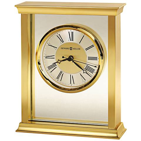 "Howard Miller Monticello 7 1/4"" High Polished Brass Clock"