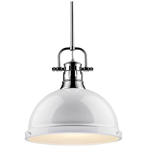 Duncan 14 wide white shade chrome pendant light 13g98 lamps plus duncan 14 wide white shade chrome pendant light mozeypictures Image collections