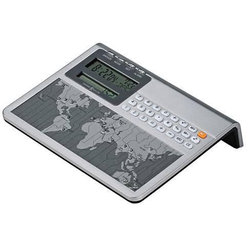 "Howard Miller World Atlas 6 1/4""W Silver Calculator Clock"