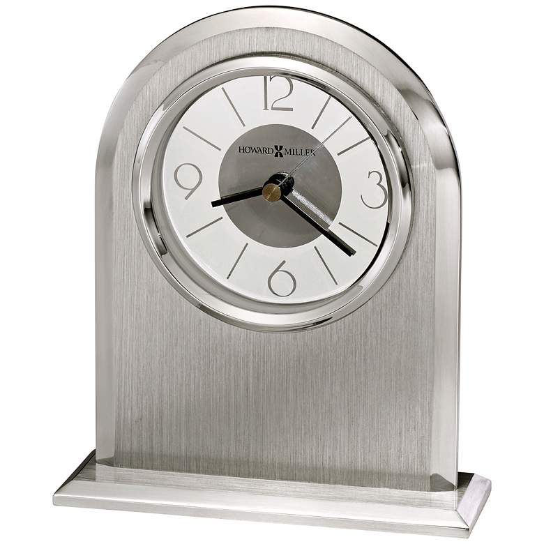 """Howard Miller Argento 6 1/4"""" High Polished Silver Clock"""