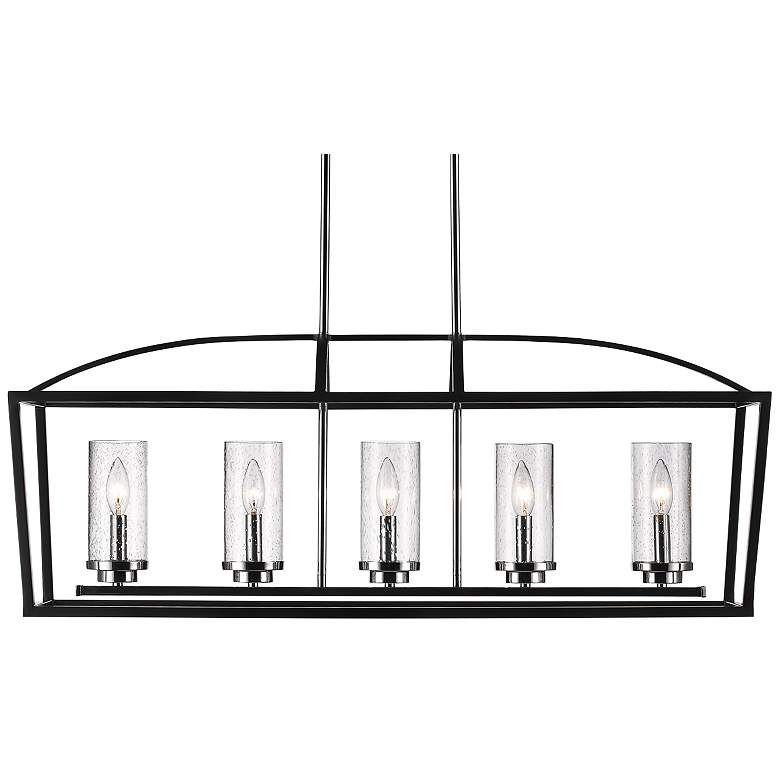 "Mercer 38 1/4""W Black Open Cage 5-Light Linear Chandelier"