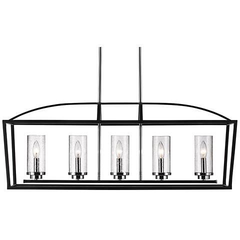 "Mercer 38 1/4"" Wide Black Open Cage 5-Light Linear Pendant"