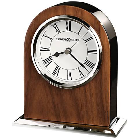 "Howard Miller Palermo 6"" High Glossy Walnut Veneer Clock"