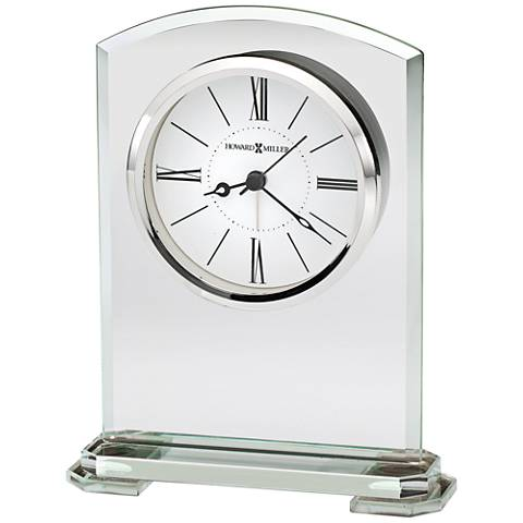 "Howard Miller Corsica 6 3/4""H Beveled Jade Glass Alarm Clock"