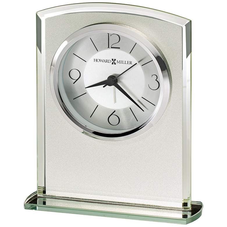 """Howard Miller Glamour 6 1/4""""H Frosted Glass Alarm Clock"""